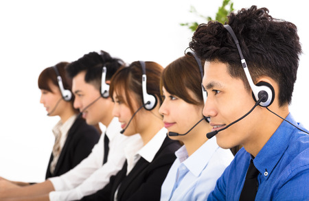 personal call: young business people and colleagues working in  call center