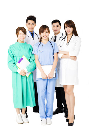 asian medical: smiling Medical team standing together isolated on white Stock Photo