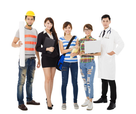 Group of diverse young people in different occupations standing