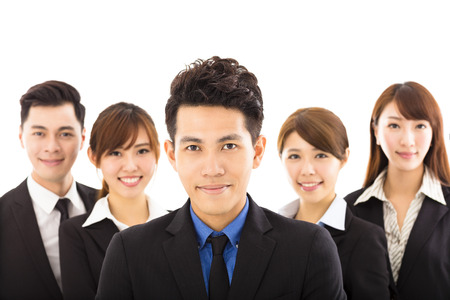 asian business team: young businessman with successful business team