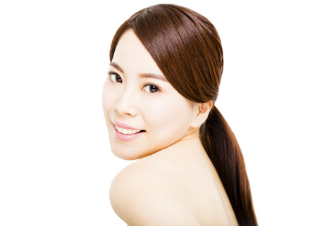 asian lady: Portrait of beautiful young  woman with clean face Stock Photo