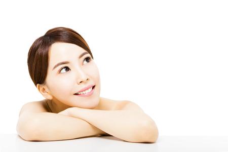 beautiful young asian woman   looking up