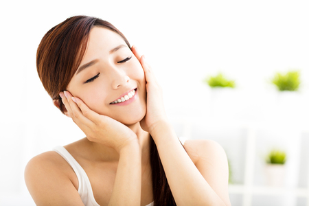 skin care: Young attractive asian woman with clean face