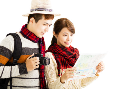 explorer man: happy young couple enjoy travel with autumn wear
