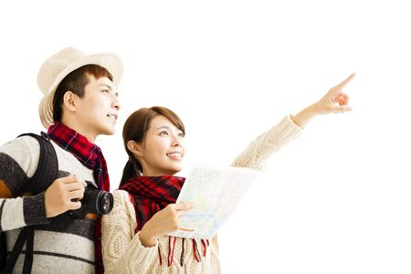 asian adult: happy young couple enjoy travel with winter wear Stock Photo