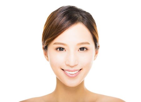 smile faces: beautiful young smiling  woman with clean face