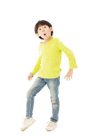 boy kid: Happy little boy dancing for celebration