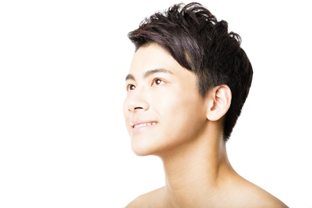 asian man face: Closeup portrait of attractive young man face Stock Photo