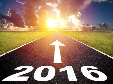 yea: road to new yea 2016  and  sunrise background
