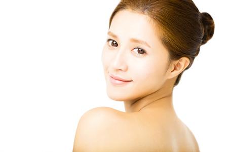 caras: primer cara hermosa joven mujer sonriente Foto de archivo