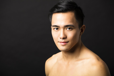 Closeup portrait of attractive young man face 스톡 콘텐츠