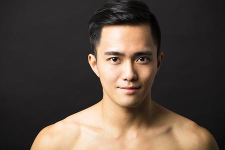 Closeup portrait of attractive young man face Archivio Fotografico