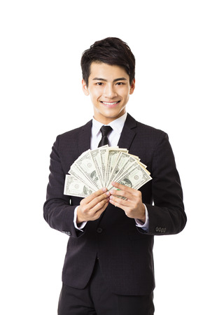 business money: happy young business man holding money