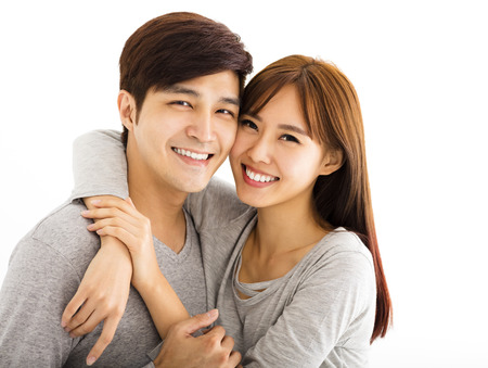 girlfriend: Closeup portrait of beautiful happy couple Stock Photo