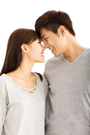 asian man face: Closeup portrait of beautiful happy young couple
