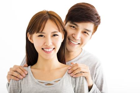 Closeup portrait of beautiful happy couple photo