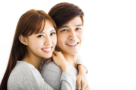 side head: Closeup portrait of beautiful happy couple Stock Photo
