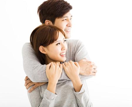 amantes: Primer retrato de la hermosa pareja feliz