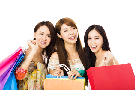 happy shopping: Group of happy young woman with shopping bags