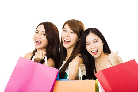 three women: Group of happy young woman with shopping bags