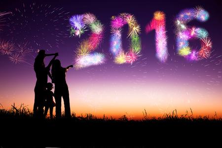 fireworks: familiares de fuegos artificiales que miran y feliz a�o nuevo concepto 2016