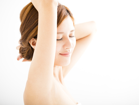 clean: beautiful smiling Young woman with clean armpit Stock Photo