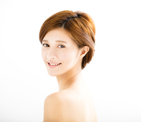 asian lady: closeup beautiful young smiling  woman  face Stock Photo