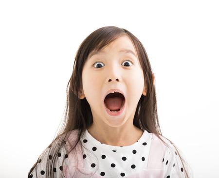wow: primer de la niña con la cara sorprendida Foto de archivo