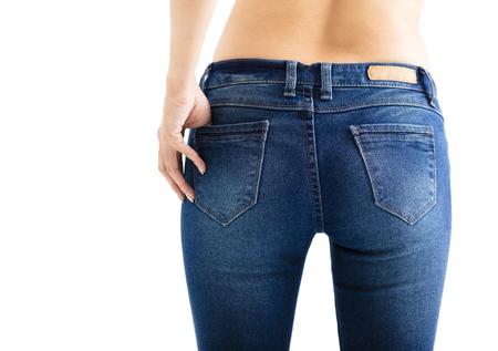 jeans apretados: Primer plano de mujer sexy vistiendo pantalones vaqueros