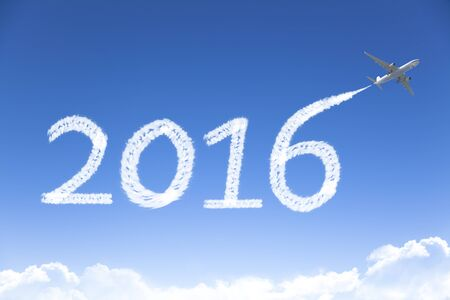 airplane background: happy New year 2016 drawing by airplane in the sky