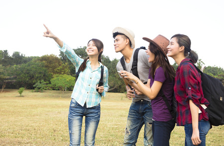 asia people: young group enjoy vacation and tourism concept Stock Photo
