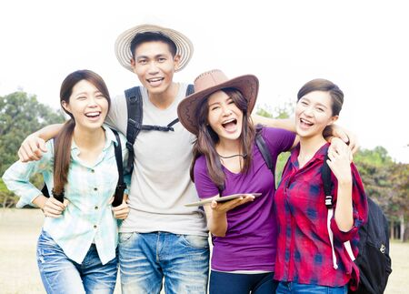 asian group: young group enjoy vacation and tourism