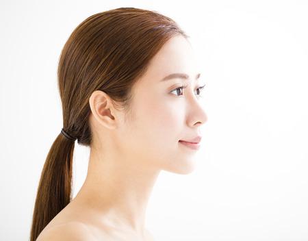 oči: detailní krásná mladá usměvavá žena tvář Reklamní fotografie