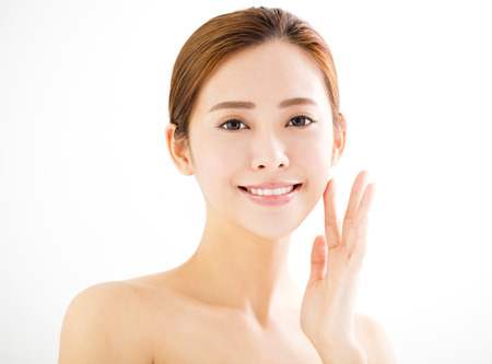 face: closeup beautiful young smiling  woman  face Stock Photo