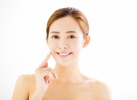 closeup beautiful young smiling  woman  face Stock Photo