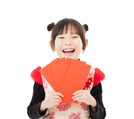 happy chinese new year.little girl showing red envelope