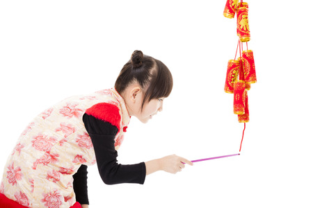 firecracker: happy chinese new year. kids playing with firecracker Stock Photo