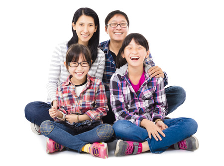 happy asian family sitting together photo