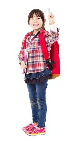 asia children: full length of smiling little girl with winner gesture