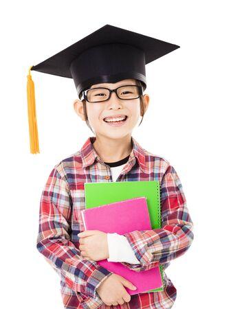 asian children: happy school kid graduate in graduation cap