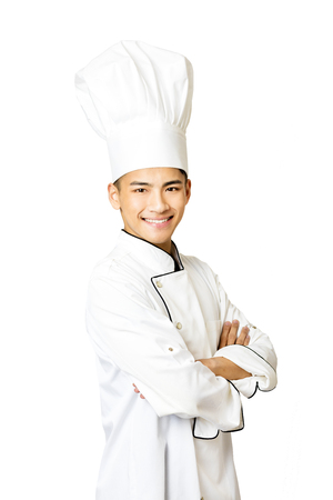 asian chef: Portrait of young  male chef isolated on white