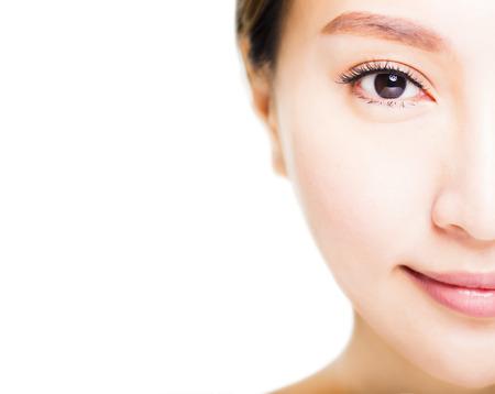 human skin: Closeup shot of young beautiful woman face