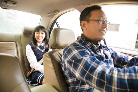 papa: father driving to school with teen daughter