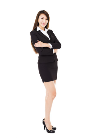 young smiling business woman isolated on white