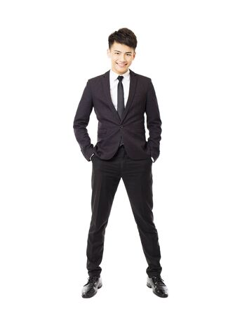 happy young businessman isolated on white