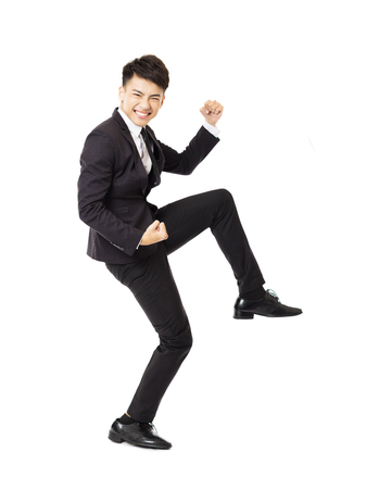 young asian: happy  young business man with successful gesture