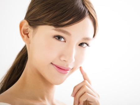 close-up mooie jonge Aziatische vrouw gezicht Stockfoto