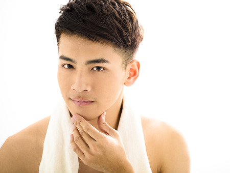 hair man: Closeup portrait of attractive young man face Stock Photo