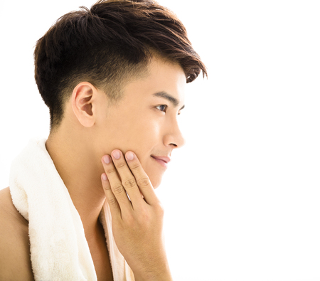 asian youth: Closeup portrait of attractive young man face Stock Photo