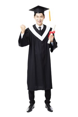 full length: full length of  young male college graduation